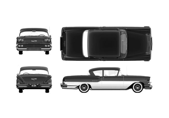 Download Drawing Chevrolet Delray 2 Door Sedan 1958 In Ai Pdf Png Svg Formats