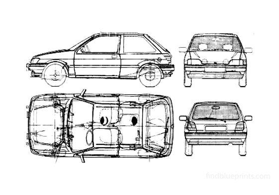 Ford Fiesta S3 3-door Hatchback 1989